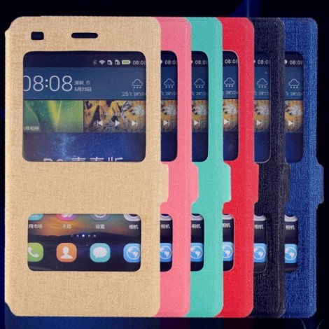 Smart Dual Viewing Windows Hard Back Case Protective Shell for Huawei P8 Lite Black