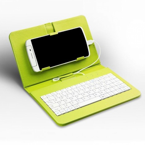 """General Wired Keyboard Flip Holster Case for Andriod Mobile Phone 4-6.8"""" Green"""