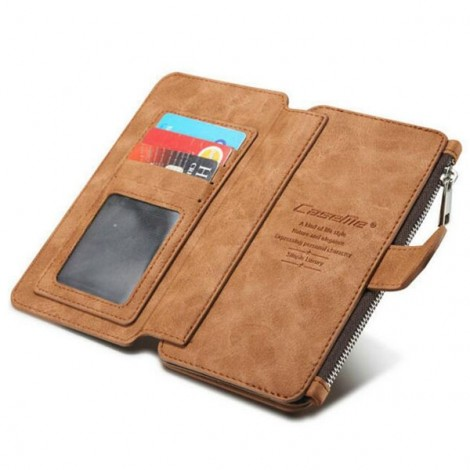 PU Leather Multi-functional Wallet Phone Case Back Cover for Samsung Galaxy Note 5 Brown