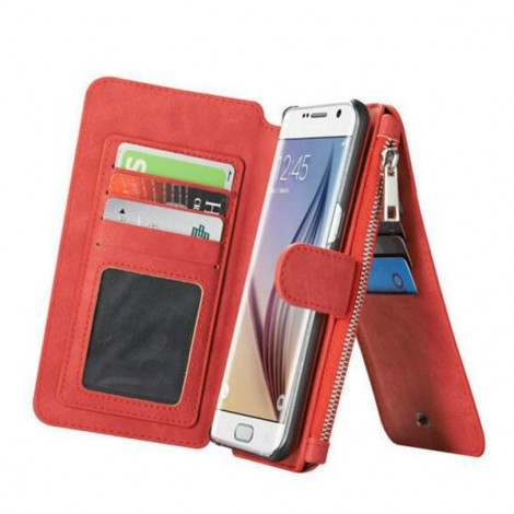 PU Leather Multi-functional Wallet Phone Case Back Cover for Samsung Galaxy Note 5 Red