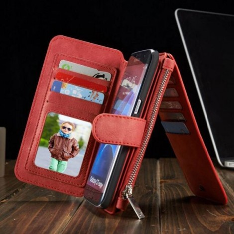 PU Leather Multi-functional Wallet Phone Case Back Cover for Samsung Galaxy S7 Edge Red