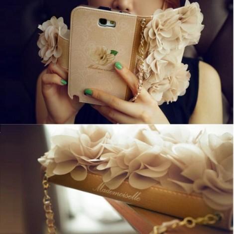 3D Chiffon Flowers Design Wristlet Handbag Leather Phone Case for Samsung Galaxy S5