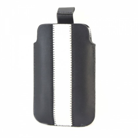 Uplifting Leatherpouch for Cellphone Mp3 Mp4 Black-White