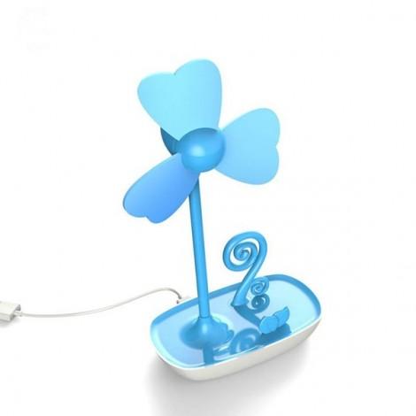 HAPTIME Multi-functional Four-leaf Clover Design Smart Phone Holder EVA Mini Fan Blue