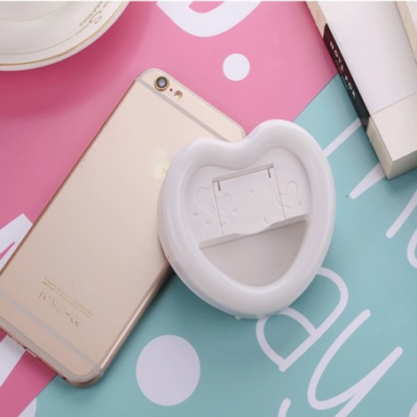 Sweet Heart Shape Rechargeable Mini Selfie LED Flash Fill-in Light White