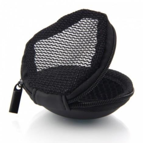 2 Pcs Nylon Storage Bag with Skull Pattern for Earphones Headphones Black