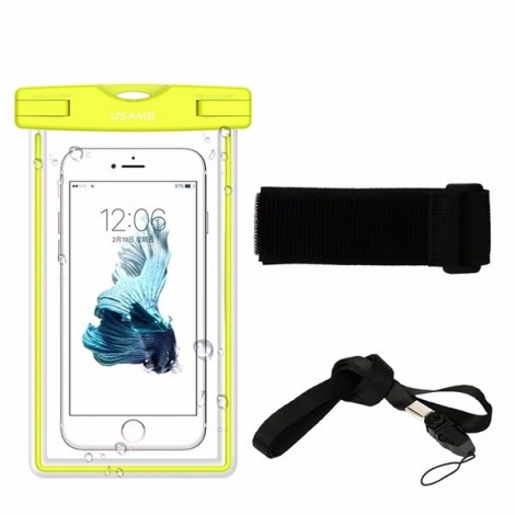 USAMS IPX8 Waterproof Case Touch Screen Luminous Transparent Window Dry Bag for Cellphone Under 6 Inch Green