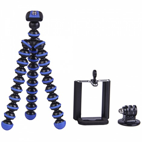 3-in-1 Mini Octopus Tripod + Adapter + Cellphone Clip Pack for Digital Camera/Phone/GoPro Hero Black & Blue