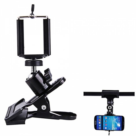 360-Degree Rotation Clamp Mount Holder Bracket with Cellphone Clip Black
