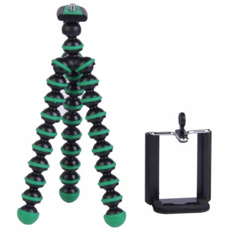 """2-in-1 6.5"""" 360-Degree Rotation Octopus Tripod + Cellphone Clip for Digital Camera / Phone Black & Green"""