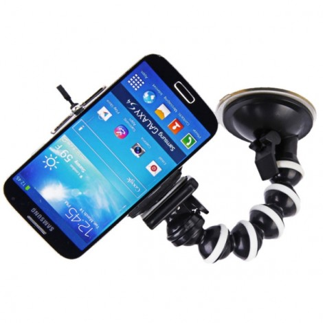 H022 Medium Size Octopus 360-Degree Rotary Monopod Suction Cup Mount + Clip for GPS/Camera/Mic/Cellphone Black & White
