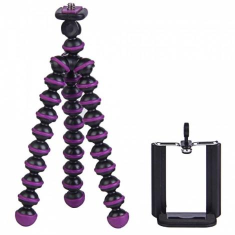 "2-in-1 6.5"" Octopus Tripod + Clip Set for Digital Camera/Phone Black & Purple"