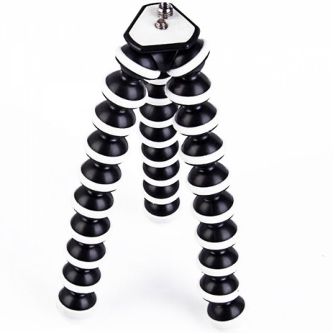 H031 2-in-1 Large Size Octopus Tripod Mount + Cellphone Clip for Digital Camera/Cellphone Black & White