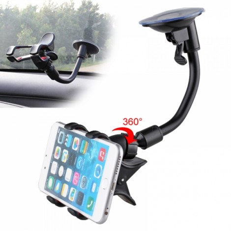 360 Degree Rotational Car Suction Cup Stand Holder Mount Bracket for GPS / Cell Phone Black