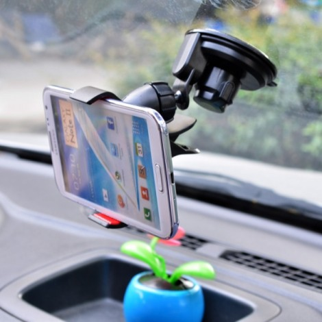 Cwxuan 360-Degree Suction Cup Car Mount Holder for Mobile Phone Black