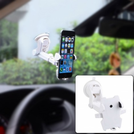Universal Windshield Dashboard Car Mount Holder with Extendable Neck for Mobile Phone White