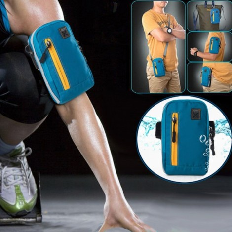 """Running Armband Outdoor Waterproof Sports Gym Arm Bag Phone Case for Cellphone Under 6"""" Light Blue"""