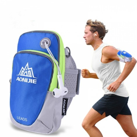 """AONIJIE Outdoor Waterproof Sports Gym Running Armband Bag Phone Case for Cellphone Under 5.5"""" Blue"""