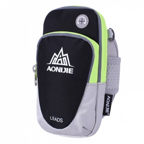 """AONIJIE Outdoor Waterproof Sports Gym Running Armband Bag Phone Case for Cellphone Under 5.5"""" Black"""