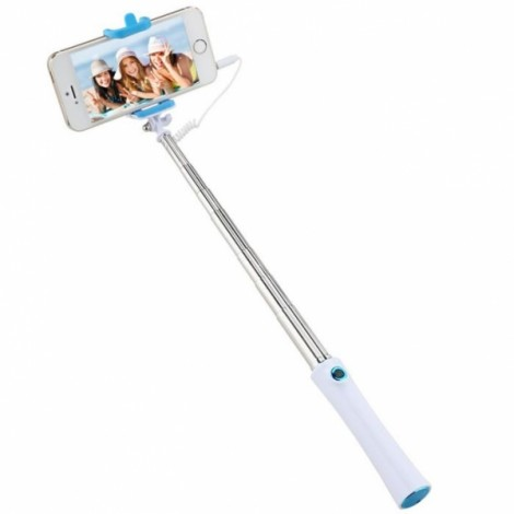 Mini Portable Handheld Extendable Skidproof Selfie Stick Wired Monopod for iPhone Android Phone Blue