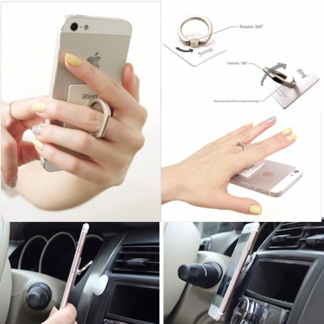 Universal Multi-functional Cellphone Ring Buckle Bracket Holder White