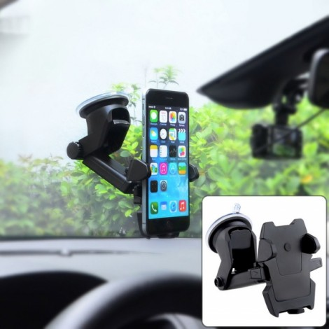 Universal Windshield Dashboard Car Mount Holder with Extendable Neck for Mobile Phone Black