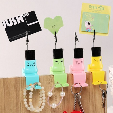 4-in-1 Cute Multifunctional Keyboard Brush Cleaner Phone Holder Memo Clip Sticky Hook Random Color