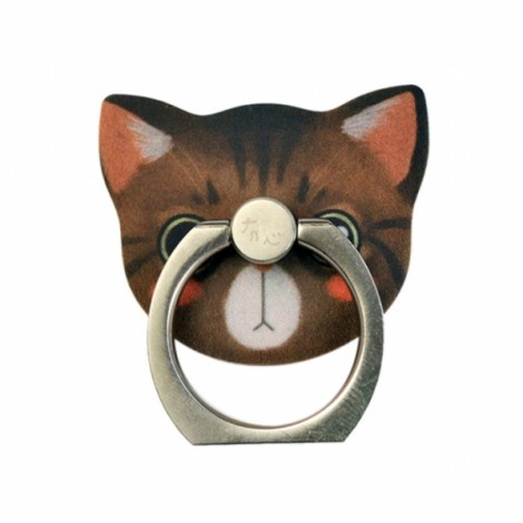 Baron Pattern Cat Metal Mobile Phone Finger Ring Stand Mount Holder for Cell Phone Brown