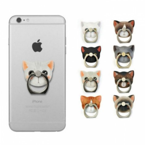 Dana Pattern Cat Metal Mobile Phone Finger Ring Stand Mount Holder for Cell Phone White