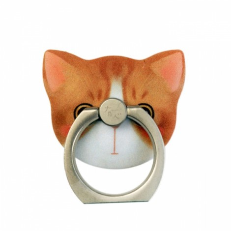 Eileen Pattern Cat Metal Mobile Phone Finger Ring Stand Mount Holder for Cell Phone Orange