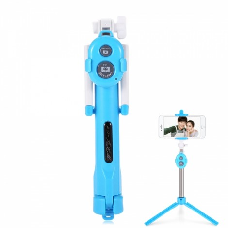 ST-11 Mobile Phone Universal Bluetooth 3.0 Self-timer with a Tripod Blue