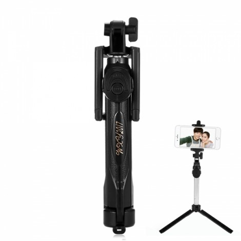 ST-12 Mobile Phone Universal Bluetooth 3.0 Self-timer with a Tripod Black