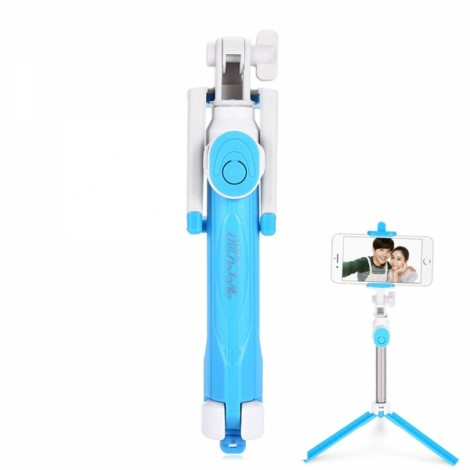 ST-12 Mobile Phone Universal Bluetooth 3.0 Self-timer with a Tripod Blue