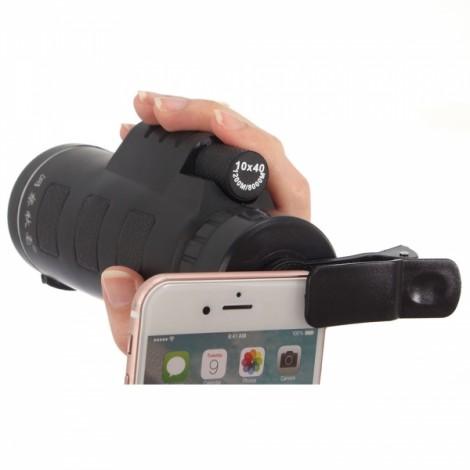 10*40 Concert Games Hiking Camera Lens Cellphone Monocular Telescope with Holder Black
