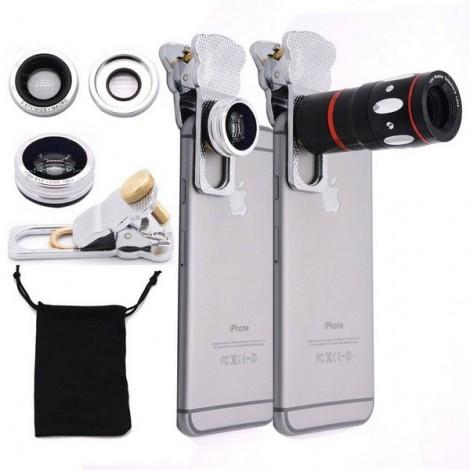 4-in-1 Fashionable Zoom Telescope Macro Telephoto 180-Degree Wide-angle Fisheye Lens Clamp Camera Lens Silver