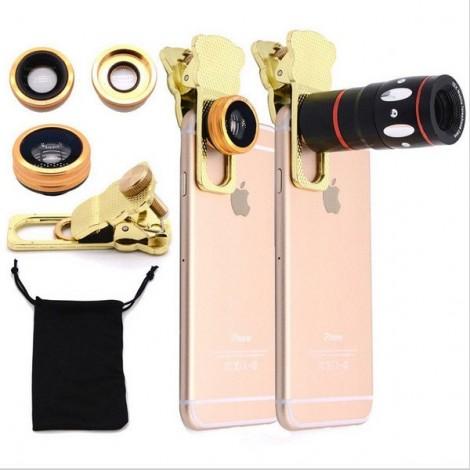 4-in-1 Fashionable Zoom Telescope Macro Telephoto 180-Degree Wide-angle Fisheye Lens Clamp Camera Lens Golden