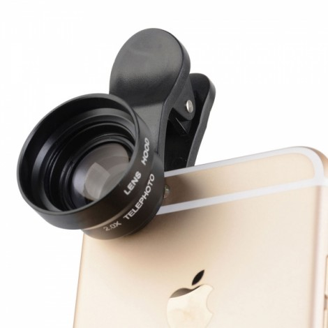 17mm 2.0X Magnification Special Effect Lens Phone Teleconverter Lens with Clip Black