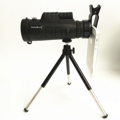 HaleBor Waterproof High Power 35X50 HD Wide Angle Monocular Telescope with Compass + Simple Phone Clip + Tripod