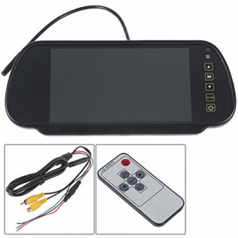 "Dragonpad 7"" TFT LCD Color 2 Video Input Car RearView Headrest Monitor DVD VCR Monitor With Remote and Stand Black"