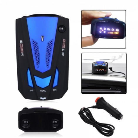 V7 360 Degree LED Car Laser Radar Detector Speed Voice Alert Blue