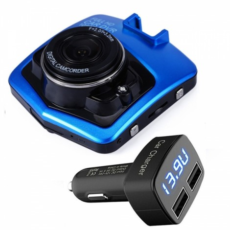 "GT300 1080P 2.4"" Car Video Recorder + LED USB 3.1A Car Charger Cigarette Lighter Splitter"