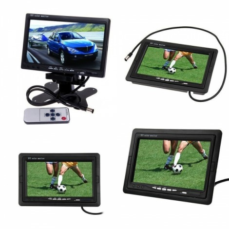 """Dragonpad 7"""" TFT LCD Color 2 Video Input Car RearView Headrest Monitor DVD VCR Monitor with Remote and Stand Black"""