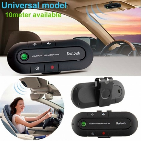 Ultra Slim Dual Standby Multi-point Car Bluetooth V4.1+EDR Hands-free Speaker Phone Black