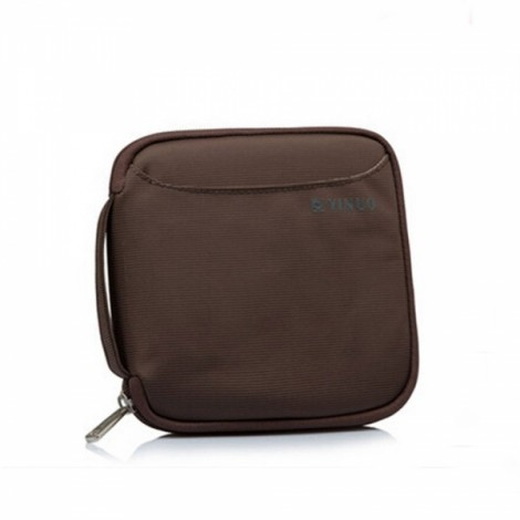 32-Sheet Portable Waterproof Square Oxford Fabric Disc CD DVD VCD Wallet Storage Organizer Holder Bag Coffee