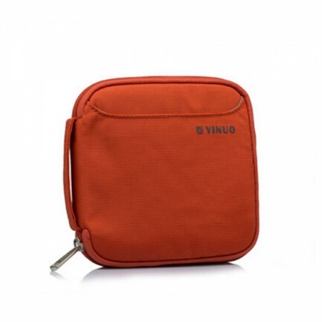 32-Sheet Portable Waterproof Square Oxford Fabric Disc CD DVD VCD Wallet Storage Organizer Holder Bag Orange