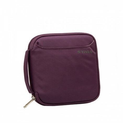 32-Sheet Portable Waterproof Square Oxford Fabric Disc CD DVD VCD Wallet Storage Organizer Holder Bag Purple