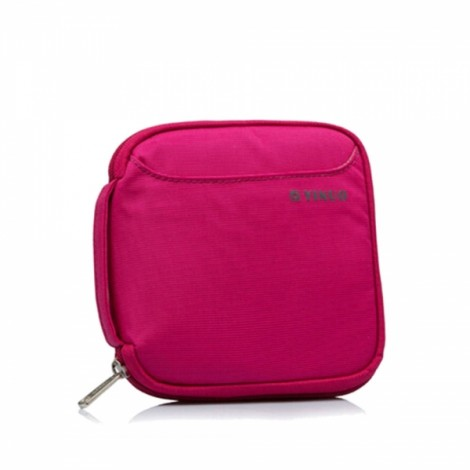 32-Sheet Portable Waterproof Square Oxford Fabric Disc CD DVD VCD Wallet Storage Organizer Holder Bag Rose Red