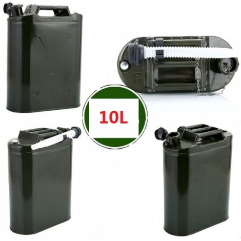 10L 0.6mm Cold-rolled Steel Petrol Diesel Can Gasoline Bucket Spare Oil Tank with Anti-lost Cap & Oil Pipe