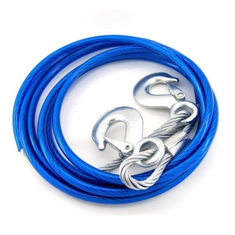 4m 5T Car Tow Rope Traction Rope Car Trailer Band with Steel Hooks Blue