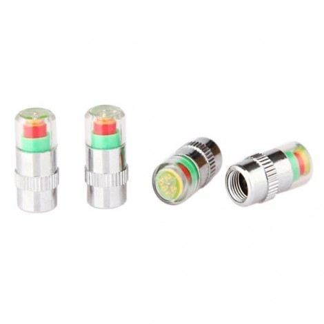 4pcs 36 PSI Tire Pressure Indicator Valve Stem Caps with LED Indicator Colorful